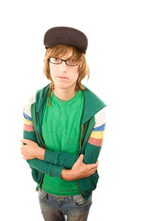 unkempt: Teenage boy in jacket and ball cap on white background Stock Photo