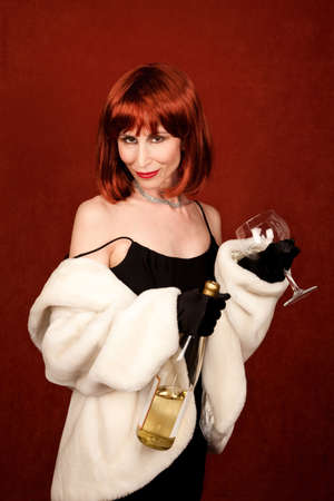 inebriated: Drunk socialite with wine bottle and glass
