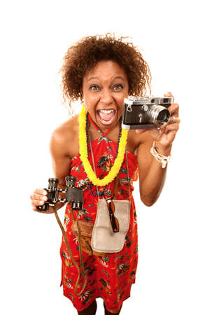 Funny African American Tourist with Lots of Equipment Фото со стока