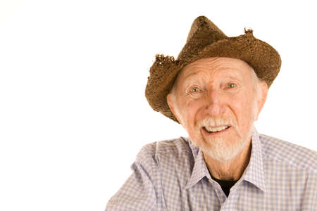 hansome: Hansome senior man wearing straw cowboy style hat Stock Photo
