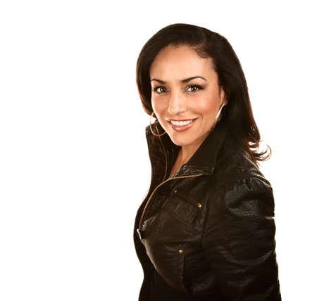 Ziemlich Hispanic Woman in Black Leather Jacket Standard-Bild - 6136005