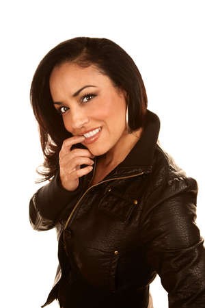 Pretty Hispanic Woman in Black Leather Jacket Imagens - 6150207