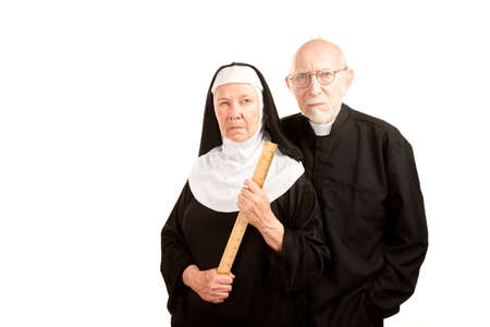 nun: Portrait of angry priest and nun in black