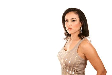 spangle: Pretty Latina Woman in Spangle Shirt on White Background Stock Photo
