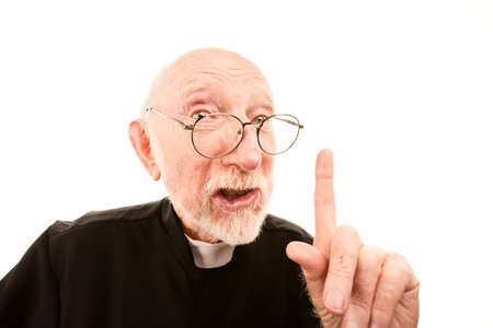 admonish: Priest making admonishing gesture with finger in the air