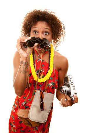 Funny African-American Tourist with Binoculars and Camera Фото со стока