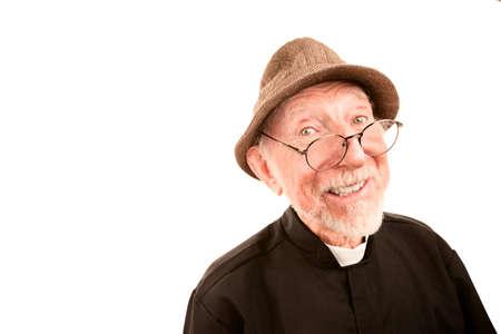 Friendly Priest or Pastor on a White Background 版權商用圖片