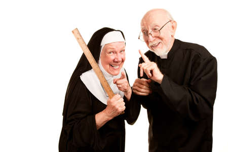 religious habit: Friendly priest admonishes angry nun for using ruler as a corporal punishment tool