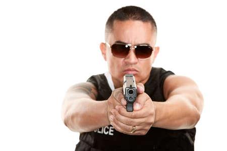 Hispanic Cop in Bulletproof Vest Aiming Pistol
