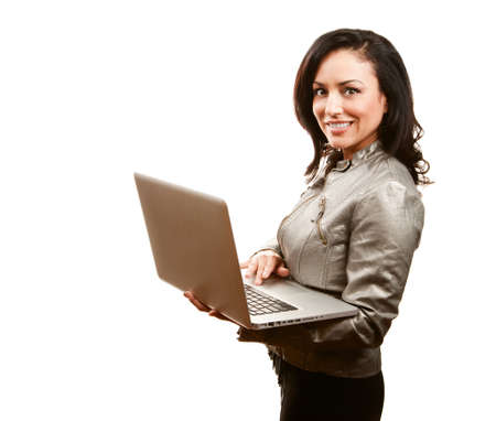 Portrait of Pretty Hispanic Woman with Laptop Computer