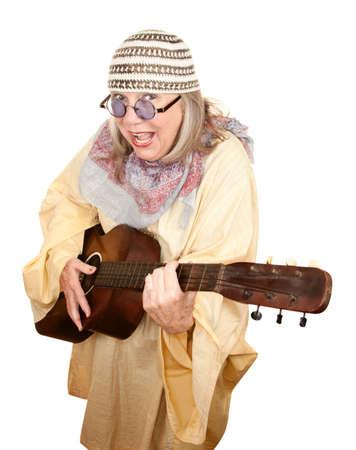 new age: Crazy New Age Woman with Old Guitar Stock Photo