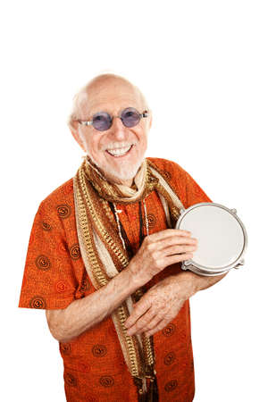 new age: Portrait of Happy New Age Senior with Bongo Drum Stock Photo