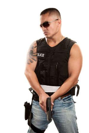 Tough Hispanic Cop with Pistol in Bulletproof Vest