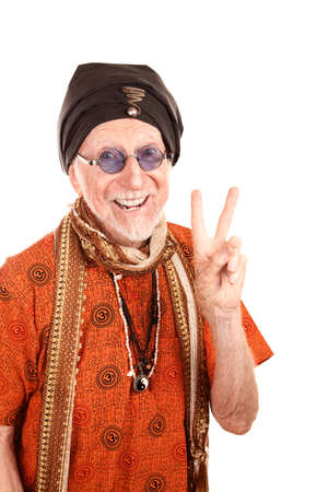 Funny Senior Guru in Orange Shirt Making Peace Sign photo