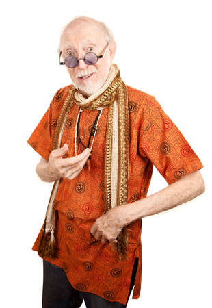 new age: New age senior man in orange shirt  Stock Photo
