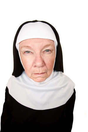 Funny Nun with Angry Expression on her Face photo