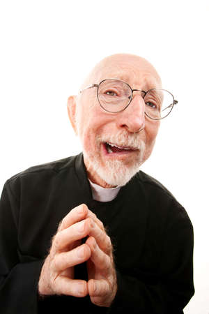 Funny priest with folded hands and glasses Stock Photo - 6402760