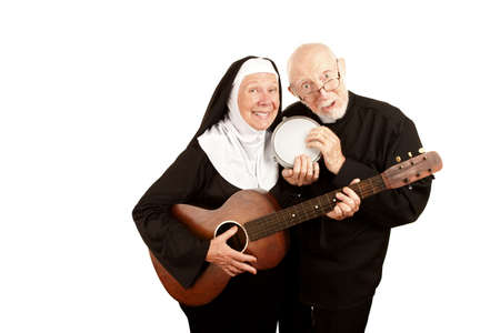Priest with bongo and nun with a guitar photo