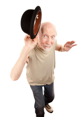 Crazy Senior Dance Man Tipping Bowler hat photo