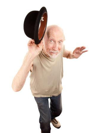 tipping: Crazy Senior Dance Man Tipping Bowler hat Stock Photo