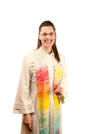 stole: pretty female pastor in robe and stole Stock Photo