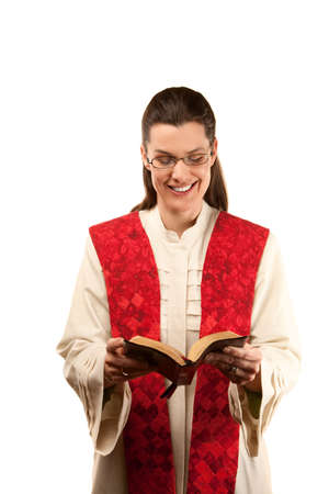 stole: pretty female pastor in robe and red stole