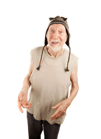 Crazy senior man in ragged t-shirt and knit cap Stock Photo - 6430238