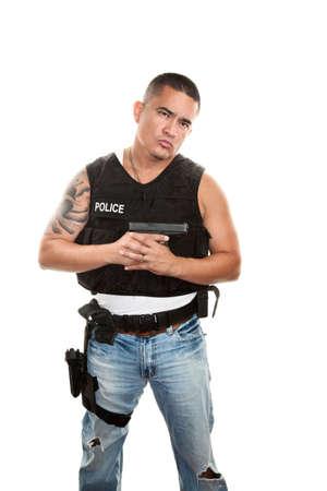 bulletproof: Hispano polic�a de paisano y chaleco antibalas con pistola