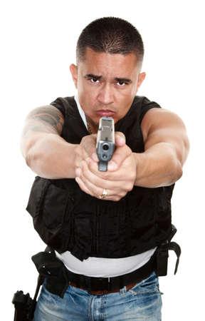Tough Latino Cop Pointing Pistol at Camera