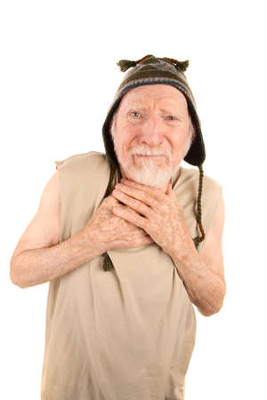 Ragged senior man in t-shirt and knit cap Stock Photo - 6459935