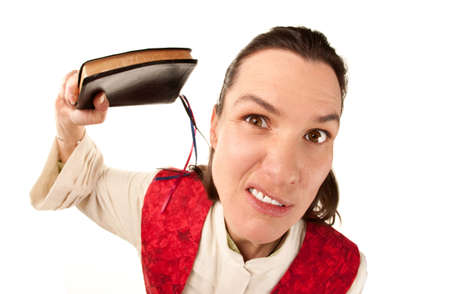 Funny female pastor using Bible as a weapon photo