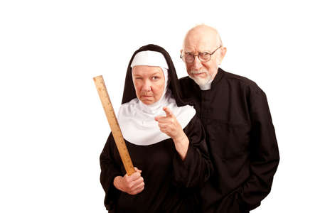 nun: Funny priest with mean nun holding ruler