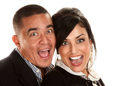 Hispanic couple reacting with smiles and laughter photo