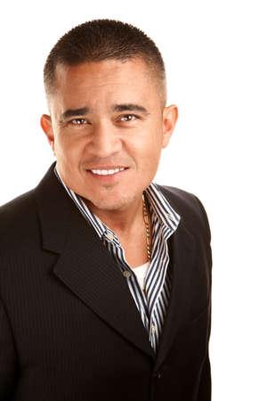 latino man: Handsome Latino Man in Jacket and Striped Shirt Stock Photo