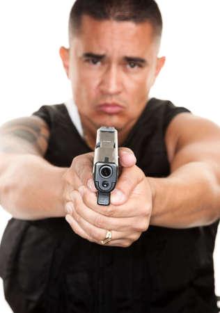 Hispanic Cop Pointing Pistol on White Background