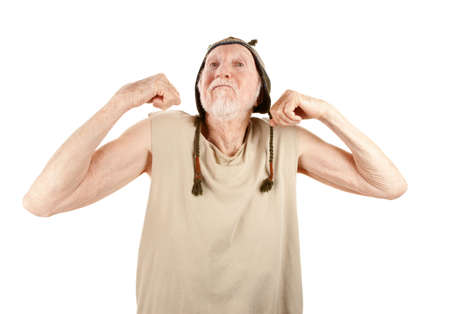 Crazy senior man in knit cap flexing muscles Stock Photo - 6500952