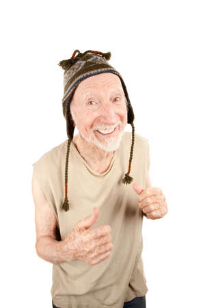 indigent: Senior man with pleasant expression wearing knit cap