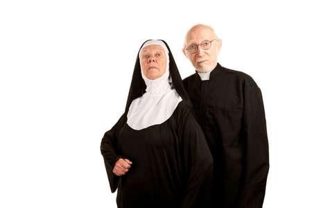 nun: Portrait of funny Catholic priest and nun