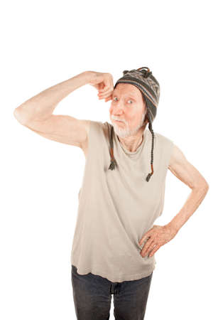 Senior man in knit cap showing off his bicep Stock Photo - 6500896