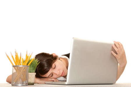 agotado: Trabajador de oficina bastante femenino con ordenador port�til
