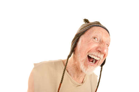 indigent: Laughing senior man on white background in knit cap