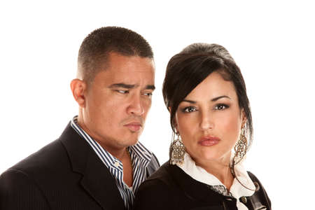 Attractive concerned Hispanic couple on white background