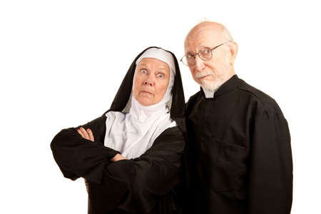 religious habit: Funny priest and nun on white background