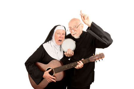 Angry musical priest and nun on white background