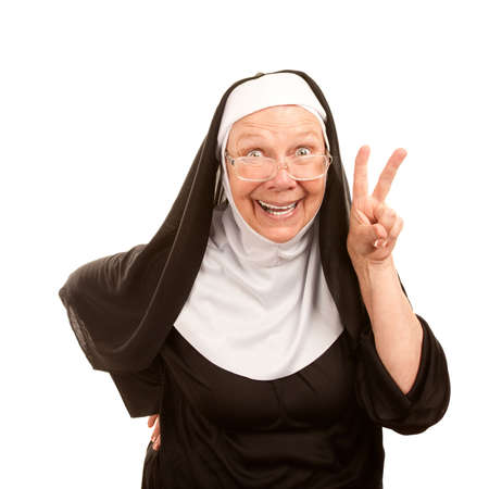 funny glasses: Funny nun on white background making peace sign Stock Photo