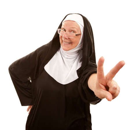 nun: Funny nun making peace sign with her hand Stock Photo