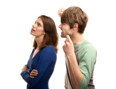 spat: Attractive young hipster couple on white background