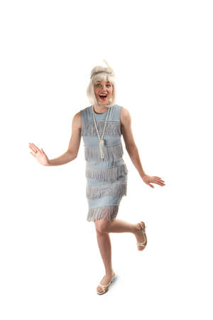 flapper: Pretty woman in vinatge 1920s flapper dress