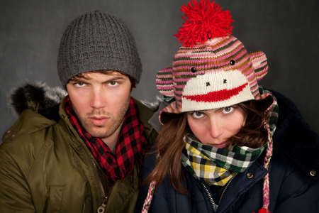 Hipster couple in clothing for cold weather photo