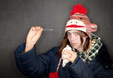 either: Pretty young woman with either flu or cold